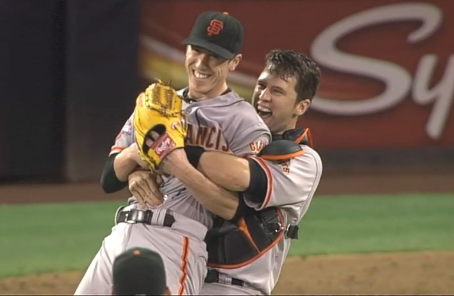 Tim Lincecum celebrates his no-hitter with Buster Posey.
