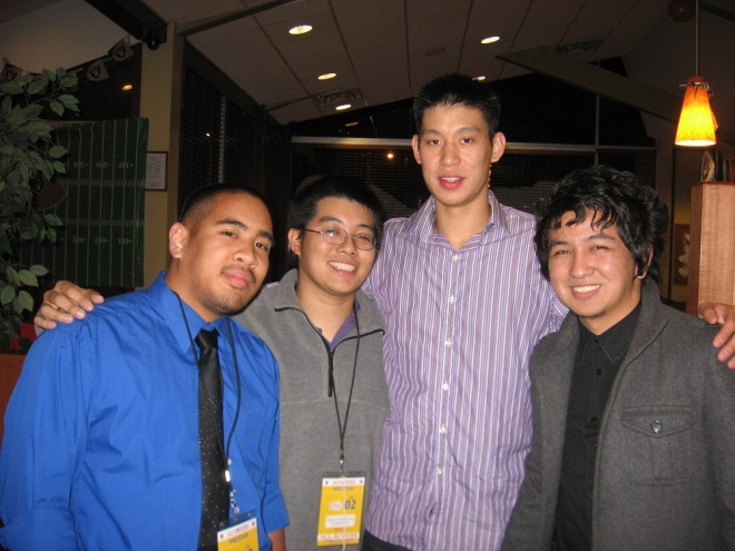After his NBA debut, Jeremy Lin and his family went to eat at the nearby Denny's. Coincidentally, that's where my friends Truth and Mark went to eat also. We ran into Jeremy and his father was happy to take this photo of us.