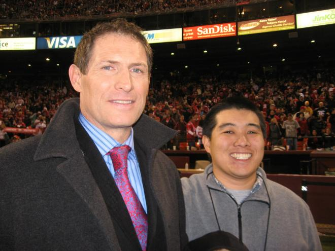 One of my favorite moments ever at Candlestick Park: Meeting Steve Young during the Monday Night Football blackout game.